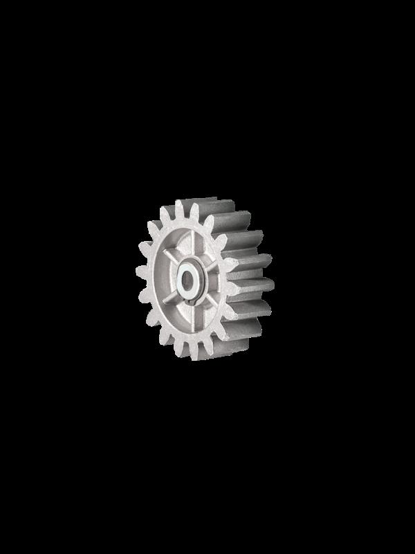 piñon de aluminio, piñon de alumnio para motores 600 y 800, piñon compatible con cremalleras de nylon